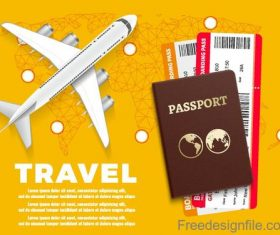 Travel template with passpost vector