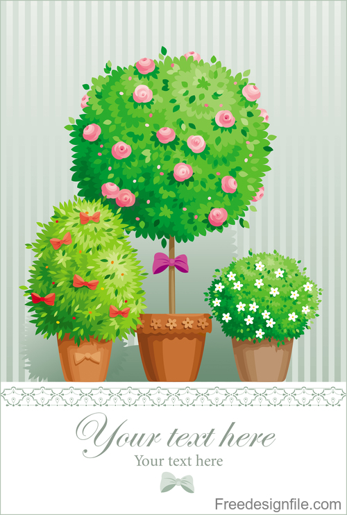 Tree with flower spring card vector