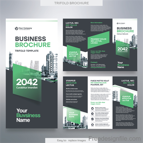 Trifold brochure business template vector 03