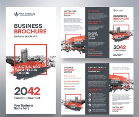 Trifold brochure business template vector 04