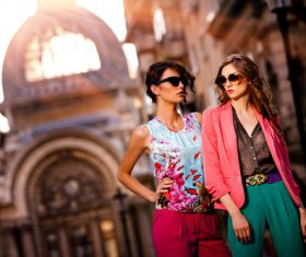 Two fashion female models with sunglasses Stock Photo