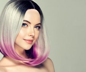 Two-tone hair color beauty model Stock Photo