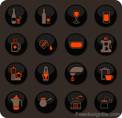 Utensils beverages glass button icons vector 01