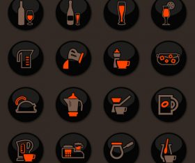 Utensils beverages glass button icons vector 02