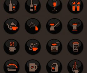 Utensils beverages glass button icons vector 03