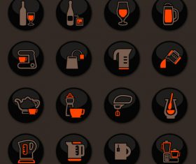 Utensils beverages glass button icons vector 04