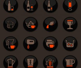 Utensils beverages glass button icons vector 05