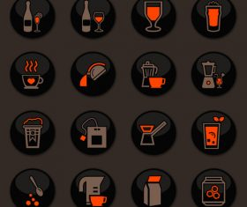 Utensils beverages glass button icons vector 06