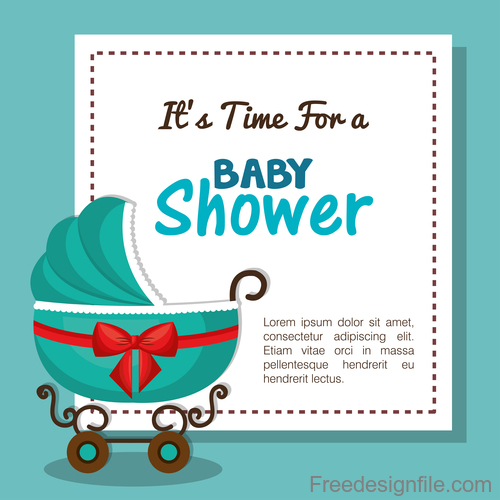 Vector Baby Shower Card Template Design 01 Free Download