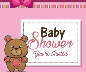 Vector baby shower card template design 02