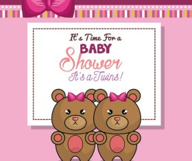 Vector baby shower card template design 04
