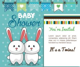Vector baby shower card template design 05