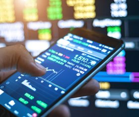 View stock market trends on your phone Stock Photo