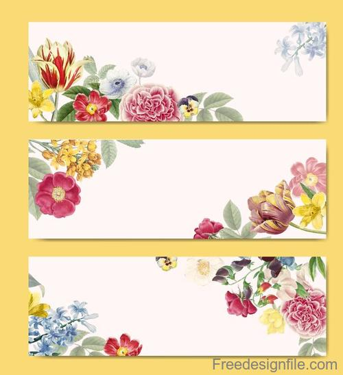 Vintage flower with white banners vector