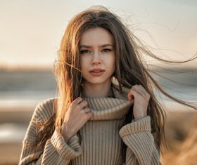 Wearing turtlenecks women outdoors Stock Photo