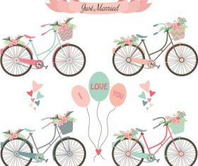 Weddin decor flower with bicycle vector