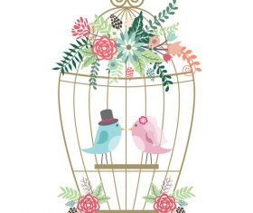 Wedding design with birds vector