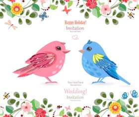 Wedding invetation card with flower and birds vector 01