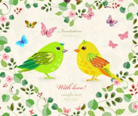Wedding invetation card with flower and birds vector 02
