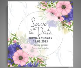 Wedding invitation card with hand drawn flower vectors 06