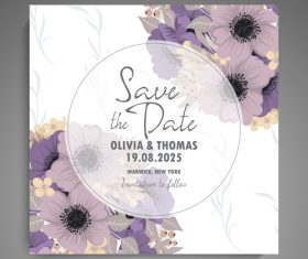Wedding invitation card with hand drawn flower vectors 05