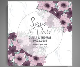 Wedding invitation card with hand drawn flower vectors 04