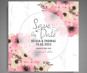 Wedding invitation card with hand drawn flower vectors 03