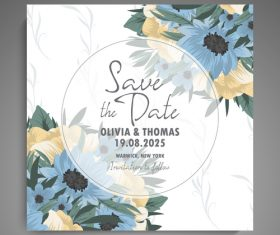 Wedding invitation card with hand drawn flower vectors 02