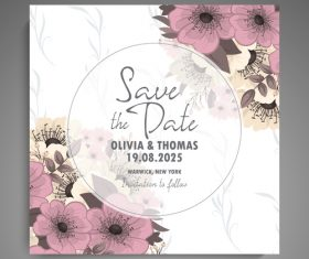Wedding invitation card with hand drawn flower vectors 01