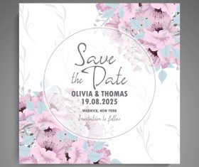Wedding invitation card with hand drawn flower vectors 08
