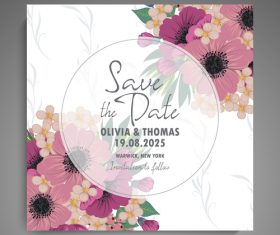 Wedding invitation card with hand drawn flower vectors 07