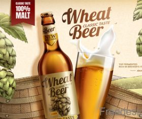 Wheat beer classic taste poster design vector 01