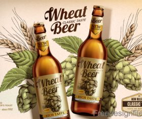 Wheat beer classic taste poster design vector 02