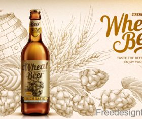 Wheat beer classic taste poster design vector 03