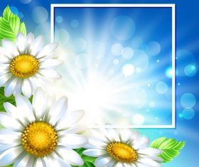White flower with spring background art vector 01