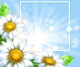 White flower with spring background art vector 03