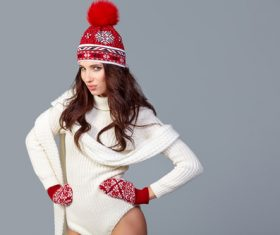 Winter fashion model wearing red knit cap Stock Photo 03