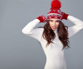Winter fashion model wearing red knit cap Stock Photo 06