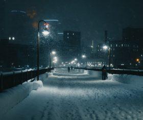 Winter night snowy street Stock Photo