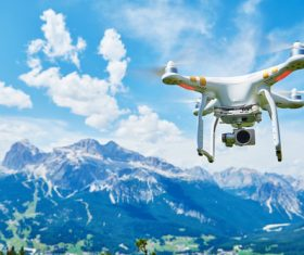 Wireless control Quadrocopter high-altitude shooting Stock Photo 01