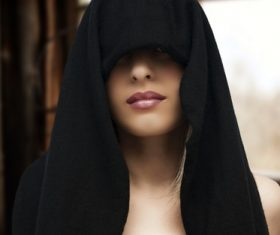 With hoods makeup women Stock Photo