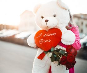 Woman Holding a Big Teddy Bear with I Love You Heart Stock Photo