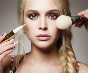 Woman holding stucco makeup Stock Photo 01