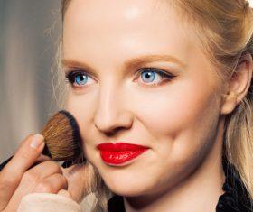 Woman holding stucco makeup Stock Photo 02