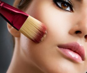 Woman holding stucco makeup Stock Photo 03