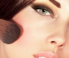 Woman holding stucco makeup Stock Photo 04
