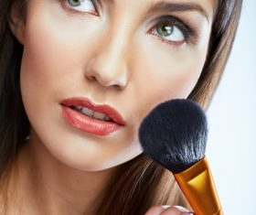 Woman holding stucco makeup Stock Photo 05