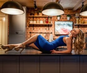 Woman posing at home Stock Photo 03