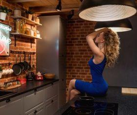 Woman posing at home Stock Photo 05