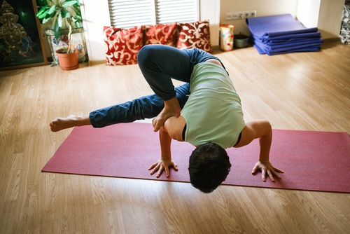 Woman practicing yoga indoors Stock Photo 04